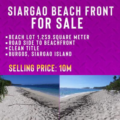 1,259 sqm Beach Front in Burgos Siargao For Sale
